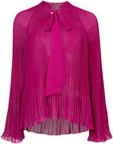 Derek Lam 10 Crosby Long Sleeve Pleated Blouse With Scarf Neck
