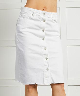 Suzanne Betro Women's Casual Skirts 101OPTIC - White Wash Pocket Button-Down Denim Skirt - Women & Plus