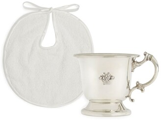 English Trousseau Kids Silver-Plated Cup and Bib Set