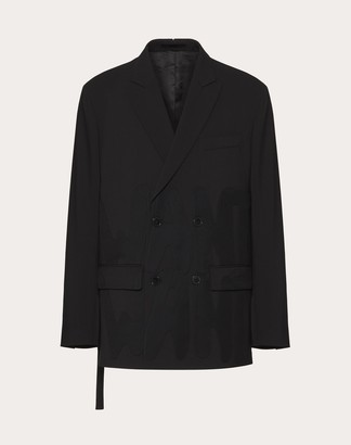 Valentino D/b Techncal Wool Jacket, Cutout And Stitched Want Want Detail, Open Side And Tie Man Black Polyester 53%, Virgin Wool 43%, Elastane 4% 48