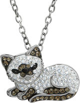Animal Planet Crystal Sterling Silver Siamese Cat Pendant Necklace