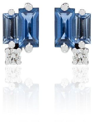 Suzanne Kalan 18kt White Gold Sapphire And Diamond Stud Earrings