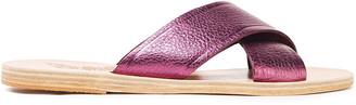 Ancient Greek Sandals Thais Metallic Pebbled-leather Slides