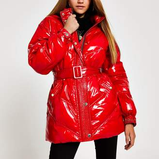River Island Womens Red high shine belted puffer jacket