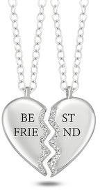 Cali Trove sterling silver 1/10ct TDW best friends heart pendant