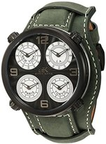 Adee Kaye Men's Quartz Stainless Steel and Leather Dress Watch, Color:Green (Model: AK2275-IPB/ GN-WIDE)