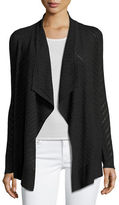 Neiman Marcus Superfine Stripe-Stitch Draped Cardigan