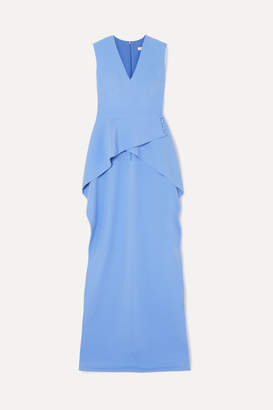 Safiyaa Asymmetric Stretch-crepe Peplum Tunic - Blue
