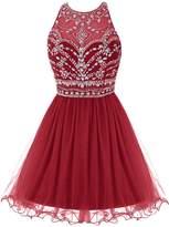 Bbonlinedress 2016 Short Tulle Sleeveless A Line Beaded Party Prom Dresses