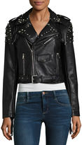 Vigoss Faux Leather Studded Moto Jacket-Juniors