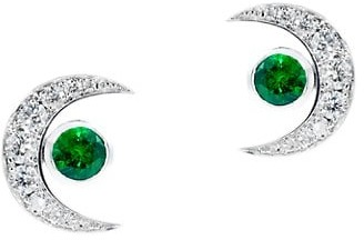 Tabayer Third Eye 18K White Gold, Diamond & Emerald The Vision Stud Earrings