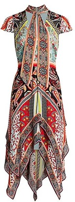 Alice + Olivia Tamara Floral & Paisley Tiered Handkerchief Sheath Dress