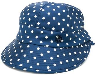 Maison Michel Min polka dots silk visor