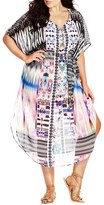 City Chic Plus Size Women's 'Diamond Life Kaftan' Print Chiffon Cover-Up