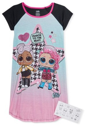 L.O.L Surprise! L.O.L. Surprise! Girls 4-10 Short Sleeve Flip Sequin Pajama Nightgown With Matching Coloring Card