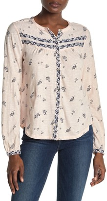 Lucky Brand Long Sleeve Button Front Slub Shirt