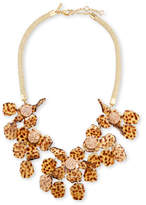 Lele Sadoughi Sculptural Lily Crystal Statement Necklace, Brown