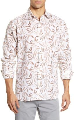 Bugatchi Print Shaped Fit Button-Up Shirt