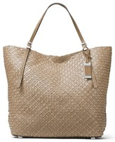 Michael Kors Large Hutton Woven Leather Tote - Grey