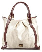 Burberry Leather-Trimmed Satchel