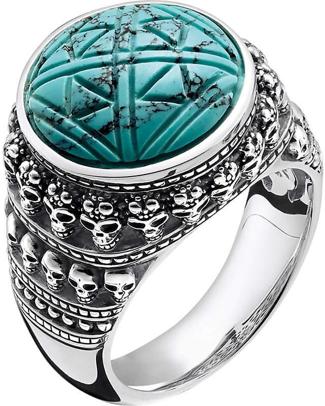 Thomas Sabo Rebel at heart mini skulls sterling silver signet ring