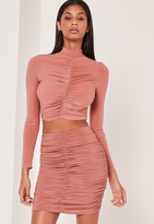 Missguided Pink Ruched Front Slinky Mini Skirt