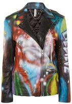 Topshop Graffiti sprayed leather biker jacket