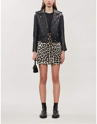 Sandro Cropped quilted leather biker jacket