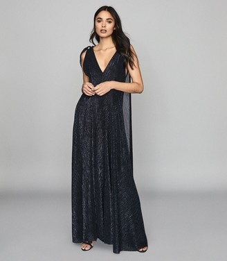 Reiss Vivienne - Metallic Maxi Dress in Navy