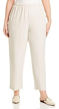 Eileen Fisher Plus Silk Straight-Leg Pants