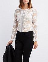 Charlotte Russe Sheer Mesh & Lace Bodysuit