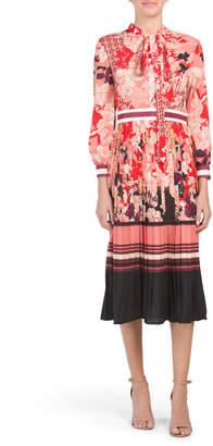 Tie Neck Pleat Skirt Border Printed Dress