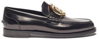 Burberry Emile Tb-plaque Leather Loafers - Black