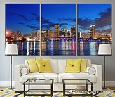 Tanda Miami City Night Large Canvas Print Extra Large Miami Skyline Wall Art Print 20 Inch Each Panel 60 Inch Total