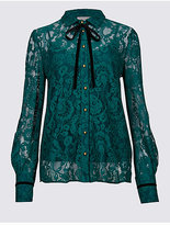 Per Una Cotton Blend Lace Long Sleeve Shirt