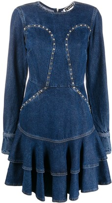 Rotate by Birger Christensen Pleated Denim Dress