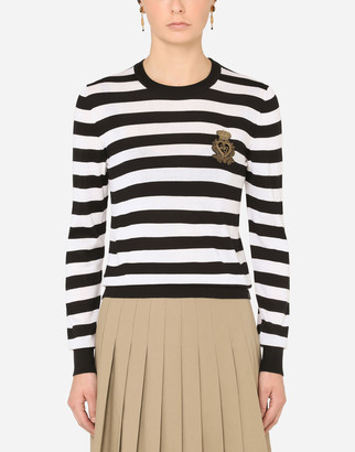 Dolce & Gabbana Striped Crew-Neck Sweater In Silk And Cashmere With Logo Detail