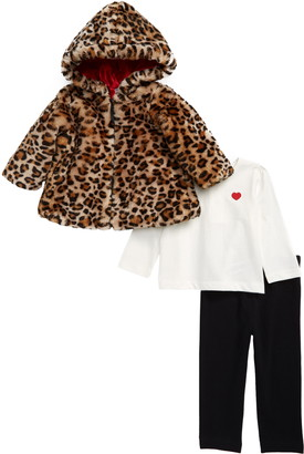 Little Me Faux Fur Hooded Jacket, Shirt & Leggings Set