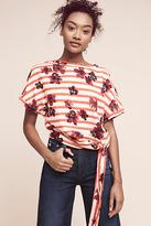 Anthropologie Striped Floral Sweatshirt
