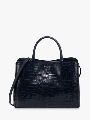 Fiorelli Bethnal Croc Print Triple Compartment Grab Bag, Navy