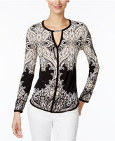 INC International Concepts Petite Printed Keyhole Top, Only at Macy's