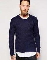 Dr Denim Crew Jumper Weave Textured Knit - Navy