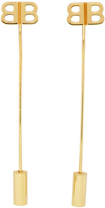 Balenciaga Gold BB Pin Earrings