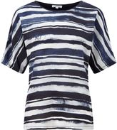 Jigsaw Broken Stripe Silk Front Top