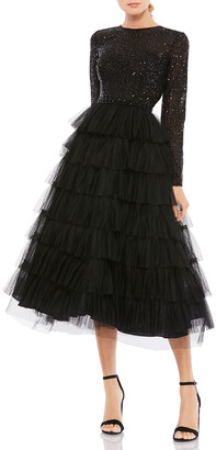 Mac Duggal Sequin Bodice Long-Sleeve Ruffle Tiered Midi Dress