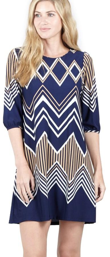 M&Co Izabel chevron print shift dress