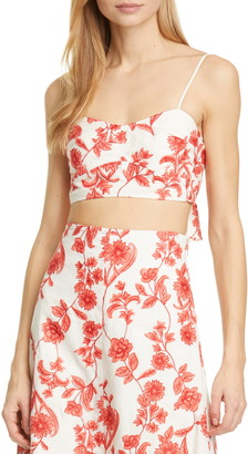 Rebecca Taylor Scarlet Embroidered Linen Crop Top