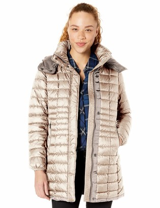 Andrew Marc Women's Marble Quilted Down Jacket with Removable Hood