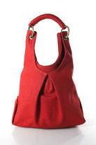 Donna Karan Red Canvas Gold Tone Hardware Hobo Handbag