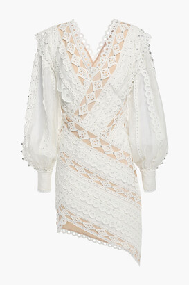 Zimmermann Broderie Anglaise Cotton, Gauze And Crepe De Chine Mini Dress